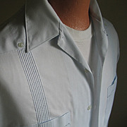 Vintage Pale Blue Guayabera Mens Summer Shirt Haband of Paterson L