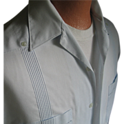 Vintage Pale Blue Guayabera Mens Summer Shirt Haband of Paterson L