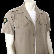 Vintage 1950s Khaki Military Marine Air Force Short Sleeved Dress Shirt L