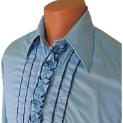 Vintage 1970s Powder Blue with Navy Blue Ruffled Tuxedo Menswear Shirt by After Six 15 ...