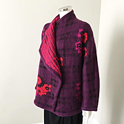Vintage 1980s Escada Mohair Cocoon Wrap Sweater Jacket Plum Red Black Floral Plaid