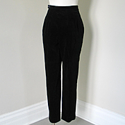 Vintage 1960s Black Velveteen Formal Event Trousers Pants Slacks High Waist XS S