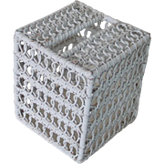 Vintage 1970s White Wood and Woven Wicker Upright Tissue Box Cover