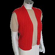 Vintage 1980s Red Cable Knit Prep Sweater Vest by Pendleton M L
