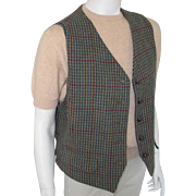 Vintage 1980s Menswear Inspired Dark Teal Sage Straw and Berry Tweed Plaid Vest Waistcoat