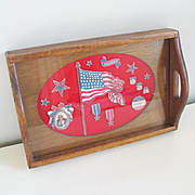 Vintage 1970s Decoupage Tray USA Stars and Stripes Uncle Sam Military Theme
