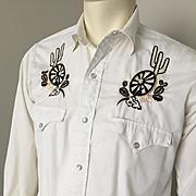 Vintage 1960s Black Gold on White Embroidered VLV Rockabilly Hillbilly Cowboy Western Wear Shi