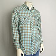 Vintage H Bar C Aqua & Orange Plaid Rockabilly Cowboy Western Shirt VLV