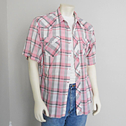 Vintage 1960s Wrangler White Black & Pink Plaid Summer Rockabilly Cowboy Western Shirt XL