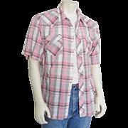 Vintage 1960s Wrangler White Black & Pink Plaid Summer Rockabilly Cowboy Western Shirt XL