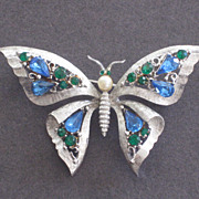 Vintage Brooch Pin Silvertone Butterfly With Green And Blue Rhinestones.