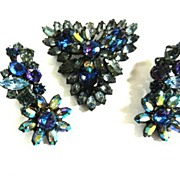 SALE Spectacular Original by Robert Heavily Encrusted Brooch and Drippy Earrings
