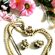 SALE Gorgeous DeMario Vintage Simulated Pearl Necklace and Earrings