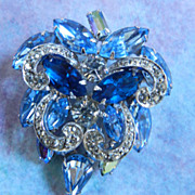 SALE Vintage Weiss Sapphire Blue assorted Stones Encrusted Brooch