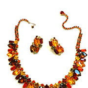 SALE Autumn Colors Big Bold Vintage Necklace and Earring Demi