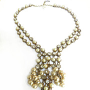 SALE Elegant Vintage Waterfall Faux Pearl Vintage Necklace