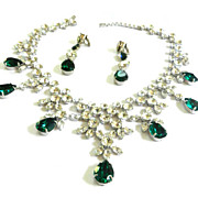 SALE Show Stopping Magnificent Bib/Collar Vintage Necklace and Earrings