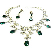 SALE Magnificent Emerald Green Bib Necklace and Earrings Designer