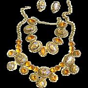 SALE Vintage Schiaparelli 50s Art Glass Faux Opal Necklace Bracelet Earrings