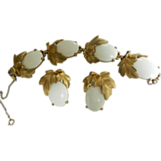 SALE Fabulous 1940s Schiaparelli Winter White Cabochon Bracelet and Earrings