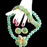 SALE Spectacular Jomaz Vintage Faux jade Carved Bracelet Brooch Earrings Necklace