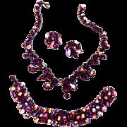 SALE Dazzling Vintage Bling Amethyst Drippy Necklace Bracelet Earrings 1940s