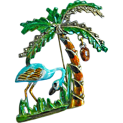 SALE 1940s Flamingo and Palm Tree Brooch