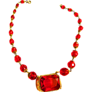 SALE Gorgeous Red Crystal Bead and Pendant Czech Early 1900s Necklace