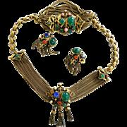 SALE Vintage 40s Mogul Faux Stones Drippy Necklace Bracelet and Earrings Parure