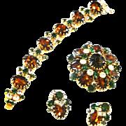 SALE Fabulous Vintage Ledo Polcini Bracelet Earrings Brooch