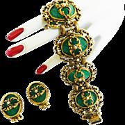 SALE Vintage Victorian Revival Pressed Glass and Faux Pearl Huge Bracelet and Earrings High En