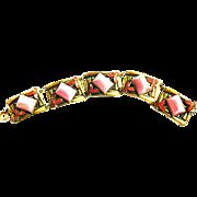 SALE Early 1900s Czech Sugar Loaf Art Glass and Enamel Panel Bracelet