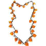 SALE Victorian   Drippy Topaz Heart Necklace Charms all Glass