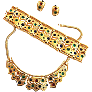SALE Show Stopping Boucher Vintage Egyptian Revival Necklace/Collar Bracelet Earrings