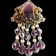 SALE Early 1900s Amethyst Filigree Huge Brooch Faux Pearl Earrings