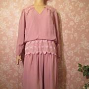 SALE PENDING Vintage Dress M L Lace Peplum Cocktail Georgette Chiffon Mauve Ashes of Roses Mot