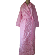 Vintage Pink Satin Robe Matelassé Quilted Long floral design S M Hahne & Company