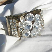 Sensational large Rivoli Rhinestone Clamper Bracelet Wow factor Circa 60's