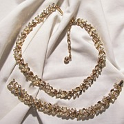 Trifari Crown Rhinestone Demi Parure Necklace Bracelet Set circa 50's Beautiful