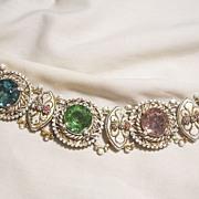 Outstanding Rare Bold large rhinestone Fleur de lies white gold color antiqued enamel Bracelet