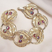 Bold Magnificent Fire Red Aurora Borealis Rhinestone Link Bracelet Near Mint condition