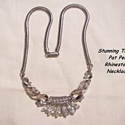 Fantastic Alfred Philippe Trifari patent pen Circa 50's Rhinestone Royal crown Necklace