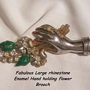 Large sensational Rhinestone Enamel Hand holding flowers Brooch