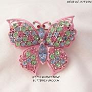 Gorgeous pastel rhinestone fruit salad pink enamel Weiss Butterfly Brooch
