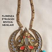 Outstanding Florenza Etruscan revival Necklace elaborate figural enamel dangle bead design Excellent