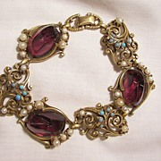 Fabulous Carved Jour purple glass domed stone simulated Turquoise and Pearl Link Bracelet