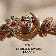 SALE Coro Sterling Moon Sword by A Katz Simulated turquoise Cabochon and seed pearl Beads ...
