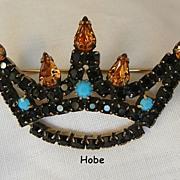 Fantastic Rare Hobe Jet Black Topaz color rhinestone Turquoise cabochon Crown Brooch