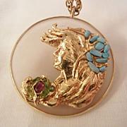 SALE * 50 off Fabulous Art Nouveau style gold leaf woman's portrait Turquoise Green and ...