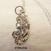 SALE Small gorgeous Sterling Diamond cut Art Nouveau woman portrait Necklace